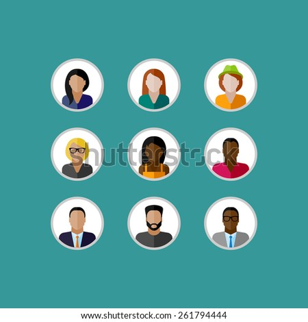 vector illustration of character icons. people flat icons collection  - stock vector