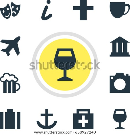 Vector Illustration Of 12 Check-In Icons. Editable Pack Of Wineglass, Coffee Shop, Cross And Other Elements.