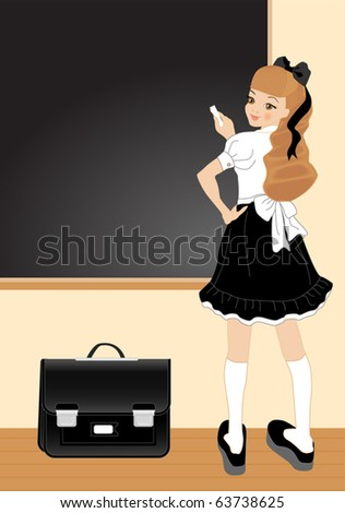 Vector illustration of cheerful girl. School theme. Your text - stock vector