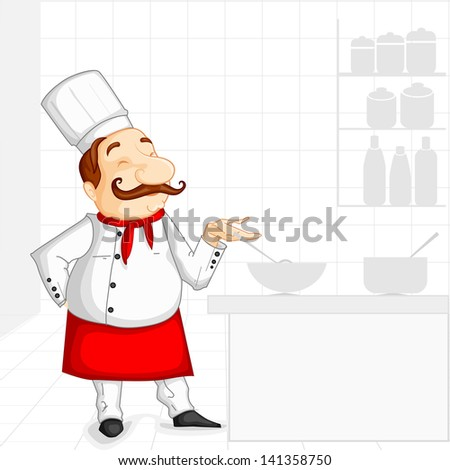 vector illustration of chef cooking in kitchen - stock vector