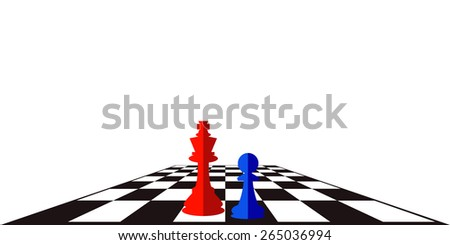Vector illustration of chess board with two chessman. Abstract background. - stock vector