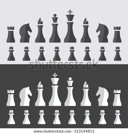 vector illustration of chess pieces in a minimal style / chessmen
