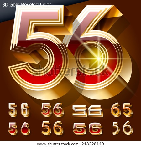 Vector illustration of chic golden 3D beveled and coloured font. Numbers 5 6 - stock vector