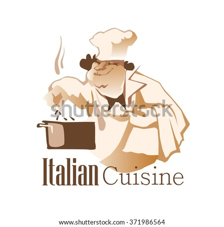 Vector illustration of chief cooker made in flat vector style. Cafe and restaurant design element. Cook characters. Isolated objects on white background. Italian cuisine inscription. - stock vector