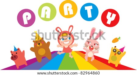 Vector illustration of child and animals party