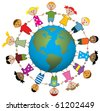 vector illustration of children around the world - stock