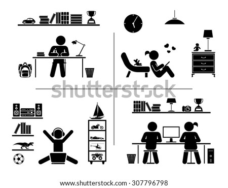 Vector illustration of children doing homework, learning and spending time in their rooms. Pictogram icon set.  - stock vector