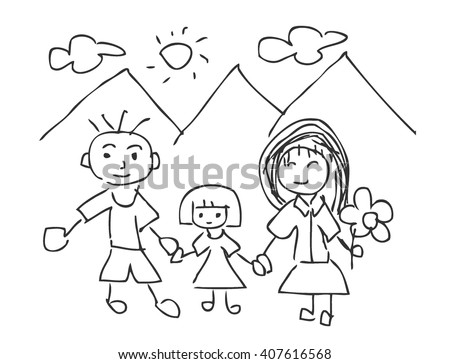 Vector Illustration of Children Drawings, Family kids drawing, Father, mother, son, isolated on white background.