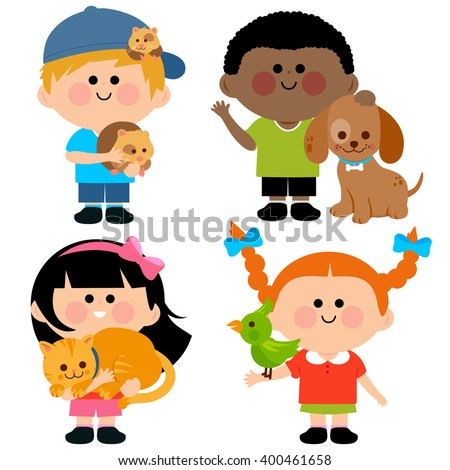 Vector illustration of children holding their pets: a cat, dog, a hamster and a bird   - stock vector