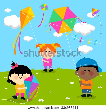 Vector illustration of children in a meadow playing with colorful kites in the sky.