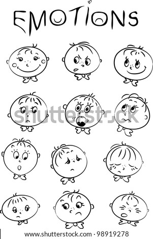 vector illustration of children's emotions - stock vector