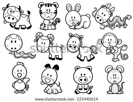 Vector illustration of Chinese Zodiac animal cartoon - Coloring book - stock vector