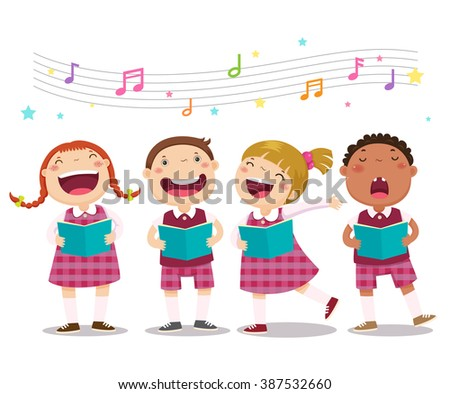 Vector illustration of choir girls and boys singing a song - stock vector