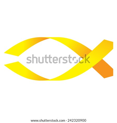 Vector illustration of christian symbol - fish. made of yellow stripes. isolated on white background - stock vector