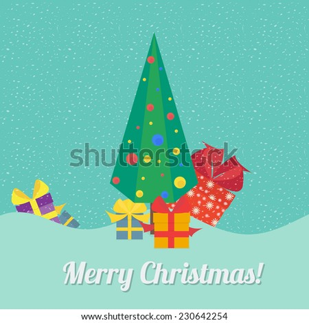 Vector illustration of Christmas background: Christmas tree with gifts in style flat - stock vector