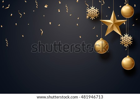 vector illustration of christmas 2017 background with christmas ball star snowflake confetti gold and black colors lace for text 2018