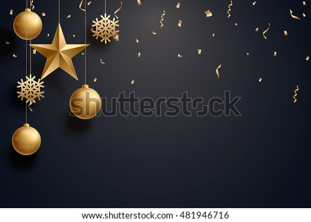 Vector Illustration Of Christmas Background With Ball Star Snowflake Confetti Gold And Black Colors Lace