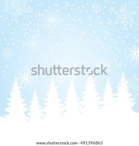 vector illustration of Christmas background with trees and snowflakes