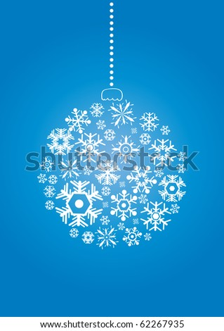 Vector illustration of Christmas ball made of snowflakes on a blue background - stock vector