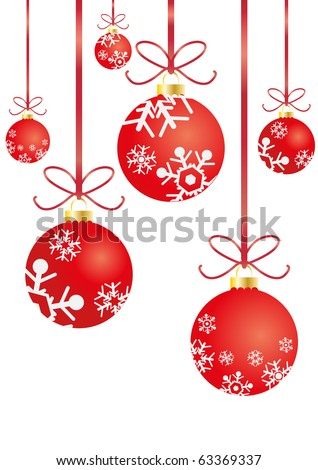Vector illustration of Christmas balls with red ribbons hanging - stock vector