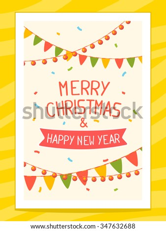Vector illustration of christmas card with hand written text on light background with garlands. Bright color. Hand draw line art design for web, site,poster,brochure,template,print and greeting card.  - stock vector