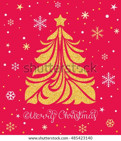 Vector illustration of Christmas card with tree and snowflakes