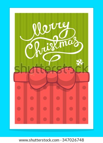 Vector illustration of christmas card with white hand written text on green background and red bow. Bright color. Hand draw line art design for web, site,banner,poster,board,print and greeting card. - stock vector