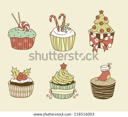 Vector illustration of 6 Christmas cupcakes