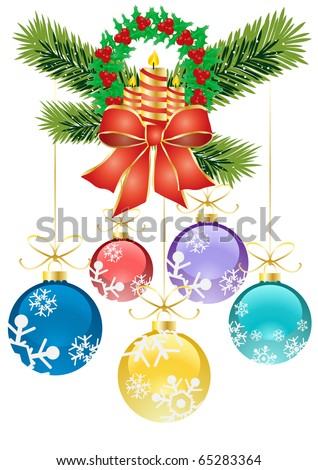 Vector illustration of Christmas decoration holly with berries and colorful balls - stock vector