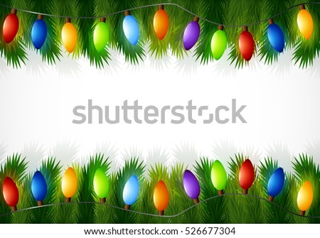 vector illustration of christmas decorations with fir tree branches and light bulbs - Christmas Tree Bulbs