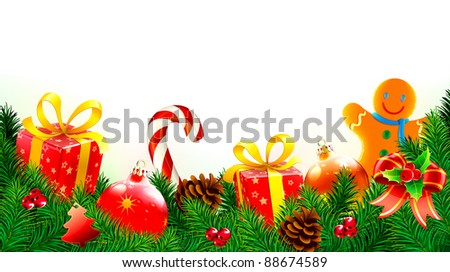 Vector illustration of Christmas decorative background with evergreen branches, pine cones, gift boxes, candy cane,  Christmas decorations and gingerbread man cookie - stock vector