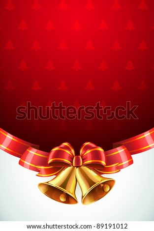 Vector illustration of Christmas decorative background with two golden bells, red bow and ribbon - stock vector