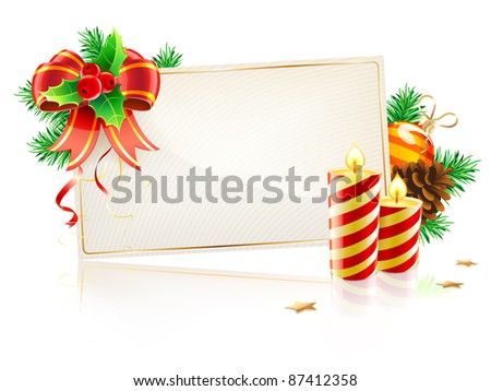 Vector illustration of Christmas decorative frame evergreen branches, red bow, pinecones, holly leaves and berries
