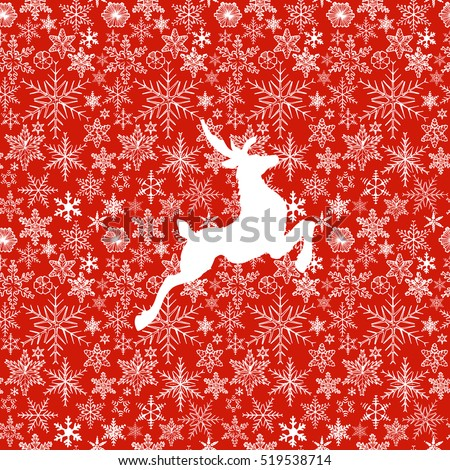 vector illustration of Christmas deer on red snowflake background.