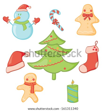 Vector illustration of Christmas doodle icon set - stock vector