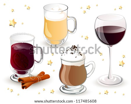 Vector Illustration of Christmas Drinks - stock vector