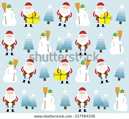 Vector illustration of Christmas elements on a decorative pattern. Santa Claus, snowman and blue Christmas trees on a blue background.  - stock vector