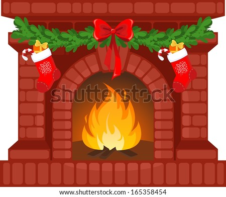 Vector illustration of Christmas fireplace - stock vector