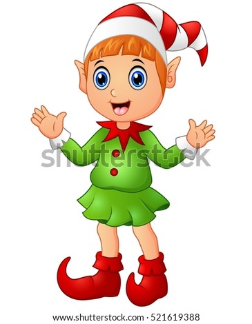 Vector illustration of Christmas girl elf character waving hands