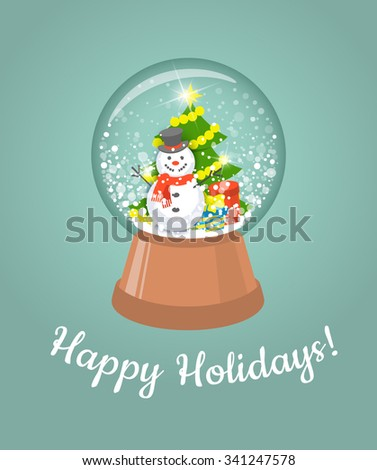 Vector illustration of Christmas glass snow ball with happy snowman, tree and gifts. Holiday children toy. - stock vector