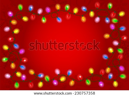 vector illustration of Christmas lights on red background with space for text - stock vector