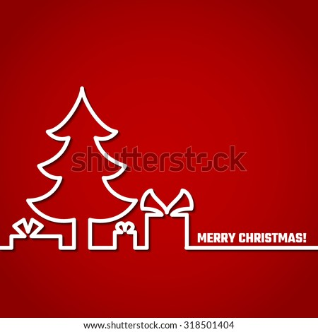 Vector Illustration of Christmas Outline BAckground for Design, Website, Banner. New year and xmas Element Template. Christmas tree and box of gifts and present under it. - stock vector