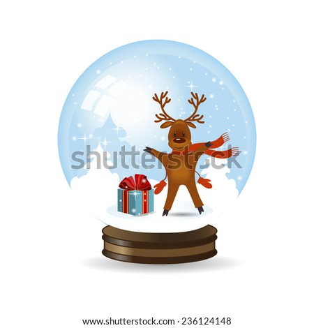 Vector illustration of Christmas Snow globe with reindeer - stock vector
