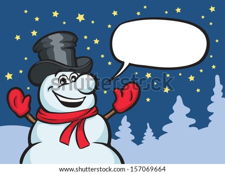Vector illustration of christmas snow man. Easy-edit layered vector EPS10 file scalable to any size without quality loss. High resolution raster JPG file is included. - stock vector