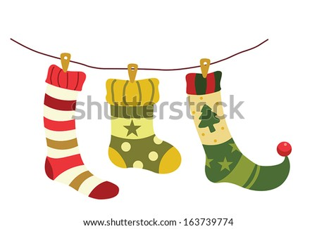 Vector illustration of christmas socks hanging on a wire - stock vector