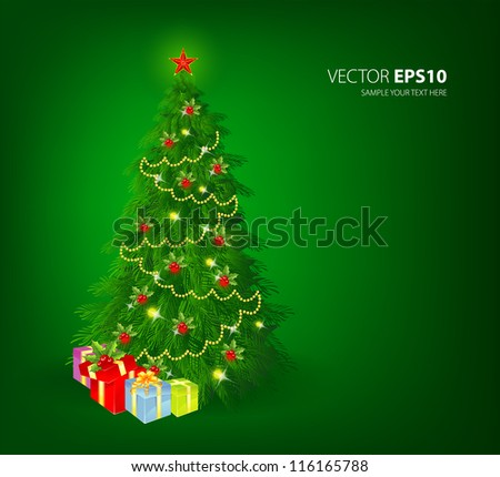 Vector illustration of Christmas tree - stock vector