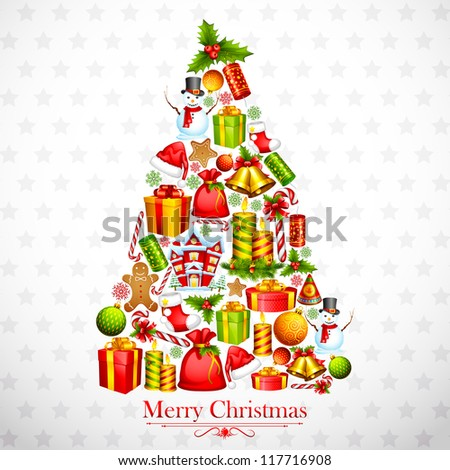 vector illustration of Christmas Tree formed by different object - stock vector