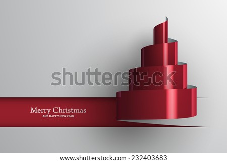 Vector illustration of Christmas tree papercut design. Stylized ribbon Christmas tree