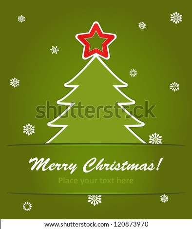 vector illustration of  christmas tree with a red star on green background with snowflakes. - stock vector