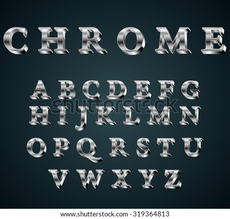 Vector illustration of chrome 3D alphabet. FONT